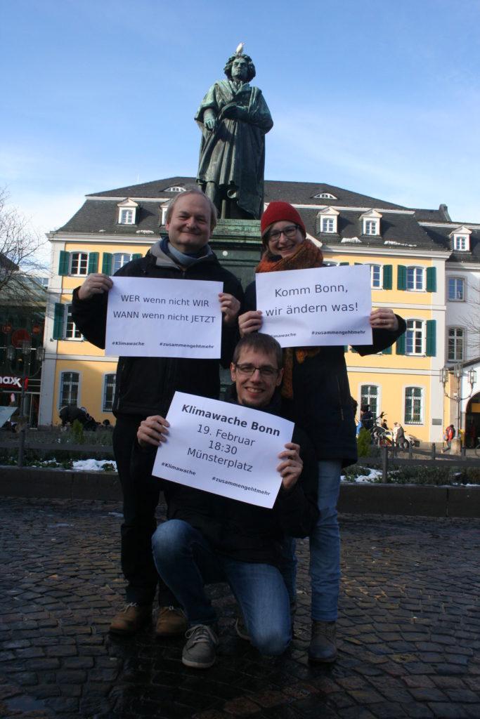 Rainer, Nils und Nina - die Initiatoren der Klimawache Bonn.  Foto: Klimawache Bonn