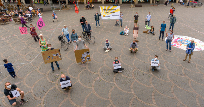 Auch in der Corona-Krise muss Klimaschutz Thema bleiben! (C)Klimawache Bonn/Rolf Krueger